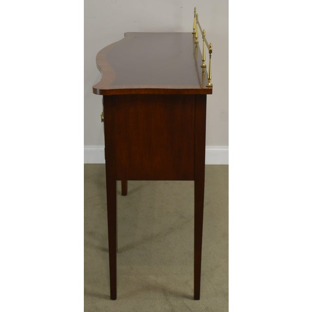 1970s Ethan Allen 18th Century Collection Mahogany Inlaid Hepplewhite Style Sideboard For Sale - Image 5 of 13
