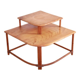 Heywood Wakefield Mid-Century Modern Rattan Corner End Table For Sale