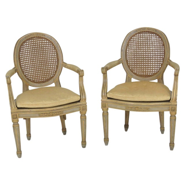 Antique Louis XVI Style Caned Fauteuils - Pair - Image 1 of 7