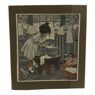 """1930s Vintage """"Washing Cloths"""" Print For Sale"""