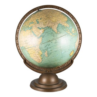 1920s Terresterial Globe With Metal Bracket and Base