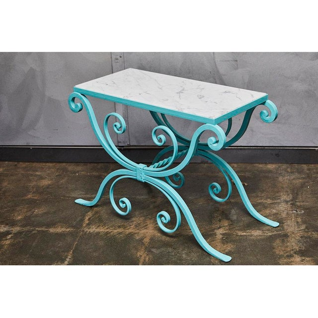 Wrought Iron Table With Marble Top For Sale In Los Angeles - Image 6 of 8