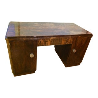 1950s Art Deco Bankers Knee Hole Desk For Sale