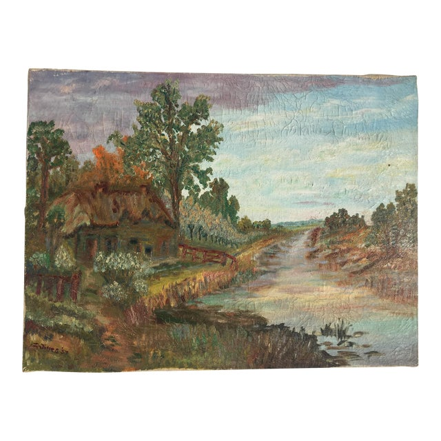 Cottage Scene Oil on Canvas Painting For Sale