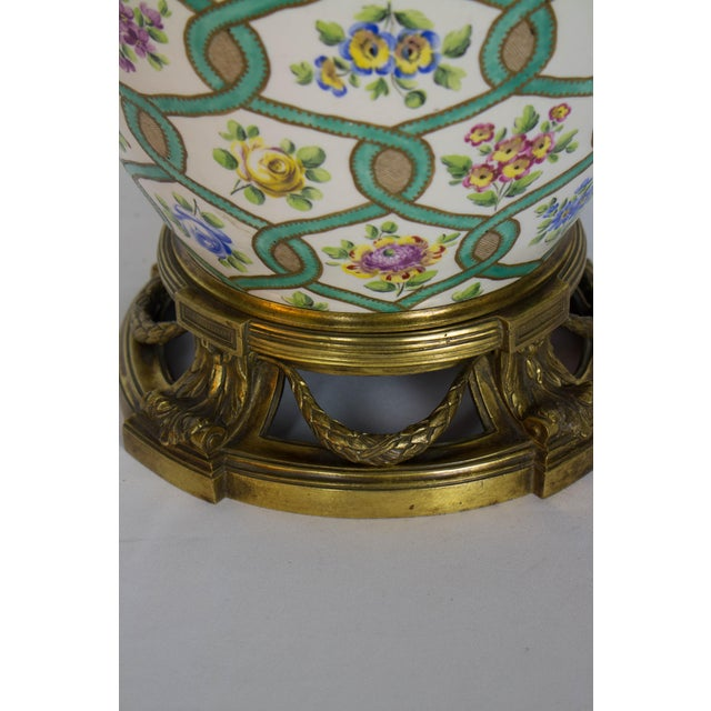 Restored Antique Green and White Chintz Table Lamp For Sale - Image 4 of 9