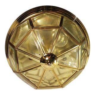 1980s Vintage 24 Panel Beveled Glass and Brass Octagon 5 Bulb Incandescent Flush For Sale
