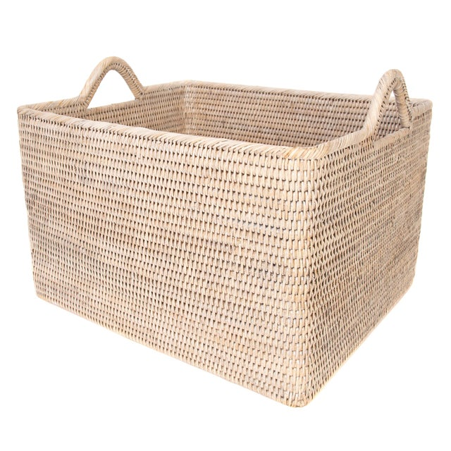 Boho Chic Artifacts Rattan Basket With Hoop Handles For Sale - Image 3 of 6