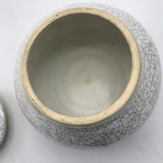 White Studio Pottery Signed Crackle Glaze Lidded Ginger Jar For Sale - Image 8 of 13