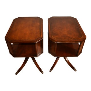 1920s Weiman English Regency Mahogany Leather Side Tables - a Pair For Sale