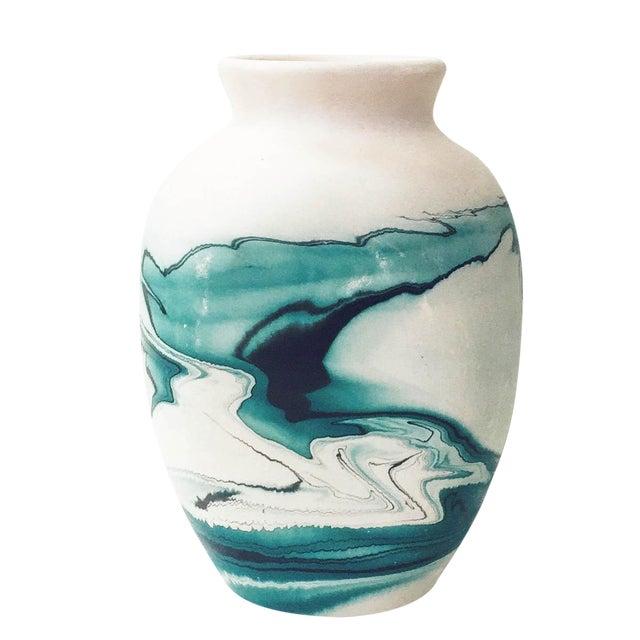 Vintage Nemadji Teal Pottery Vase - Image 1 of 5