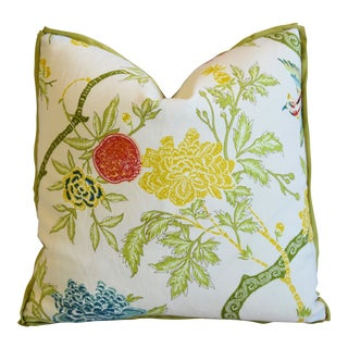 "Schumacher Chinoiserie Linen & Scalamandre Mohair Feather/Down Pillow 21"" Square For Sale"