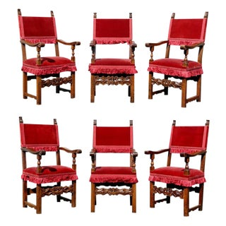Assembled Set of Six Italian Baroque Walnut Dining Chairs For Sale