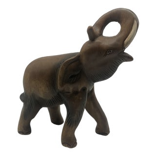 Vintage Wooden Elephant with Painted Eyes For Sale