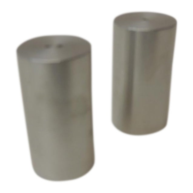 Late 20th Century Tubular Chrome Round Salt and Pepper Shakers For Sale