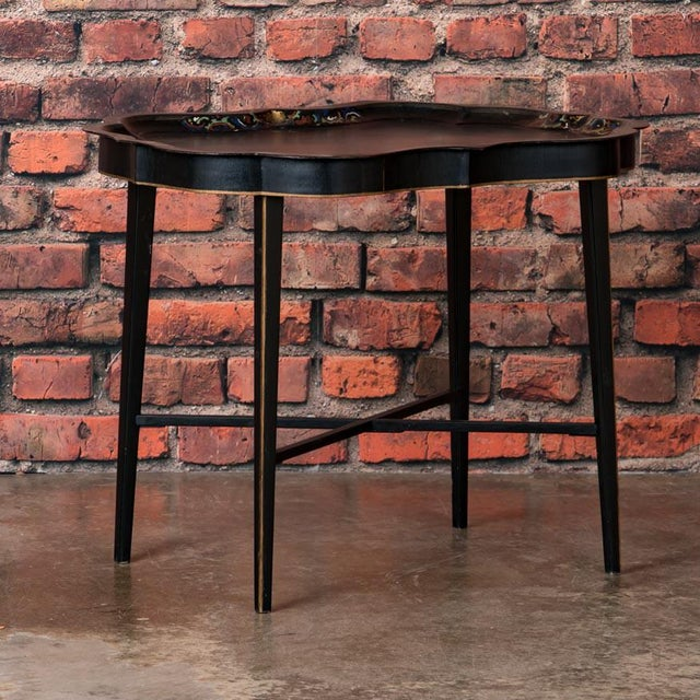19th Century Folk Art Swedish Small Black Painted Tray Table For Sale - Image 9 of 9