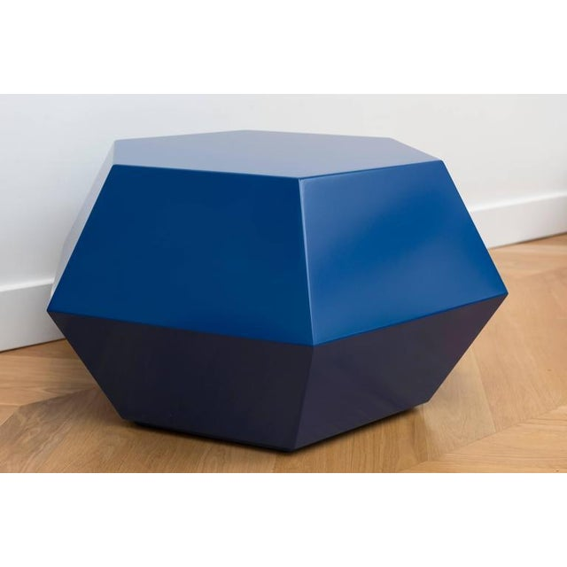 Lacquered Navy Faceted Cocktail Table For Sale - Image 4 of 6
