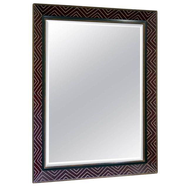 Art Deco Egyptian Revival Style Incised Chevron Pattern Frame Wall Mirror - Image 1 of 6