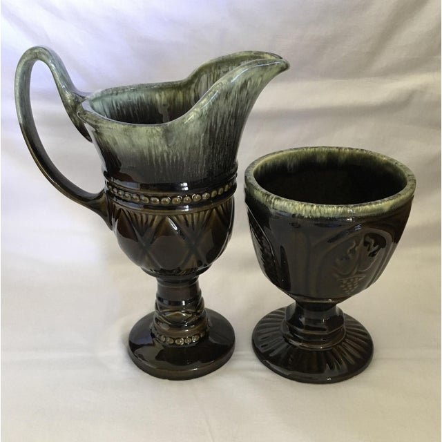 Hull Pottery Brown and Green Glazed Chalice and Footed Pitcher - a Pair For Sale - Image 13 of 13