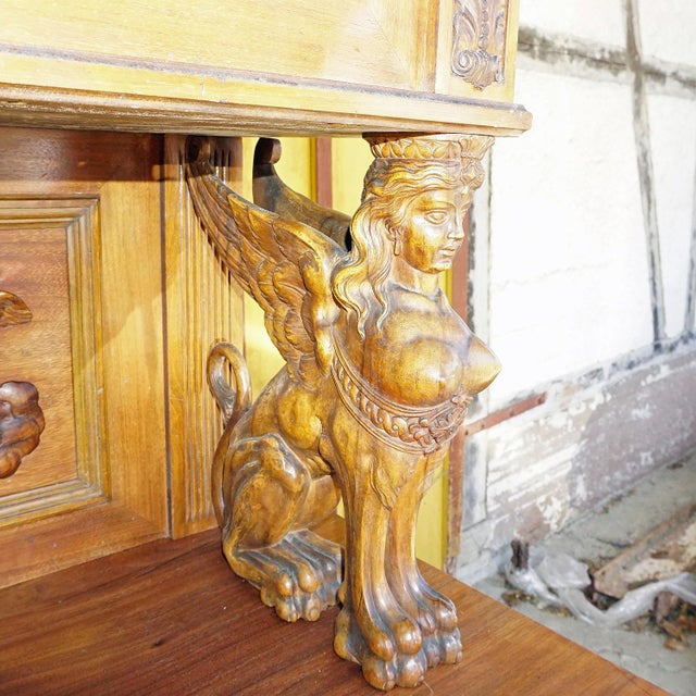 Wood Antique Wooden Carved Cupboard With Several Carvings For Sale - Image 7 of 13