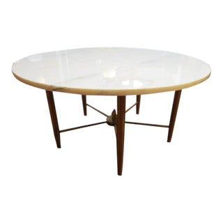 1960s Mid Century Modern Round Marble Top Coffee Table For Sale
