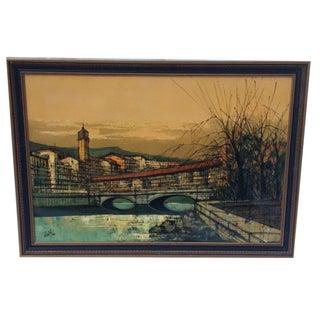 Len Yini Mid-Century Oil on Canvas** For Sale