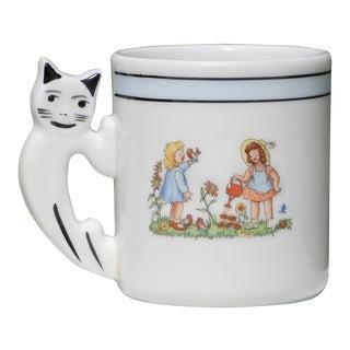 1940s Kids Porcelain Mug Depicting a Cat on the Handle, Vista Alegre, Portugal For Sale