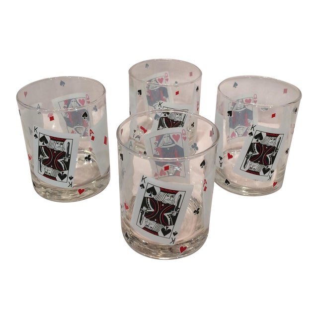 Poker Playing Card Lowball Glasses- Set of 4 - Image 1 of 11
