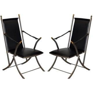 1960s Vintage Maison Jansen Style Folding Campaign Armchairs- A Pair For Sale