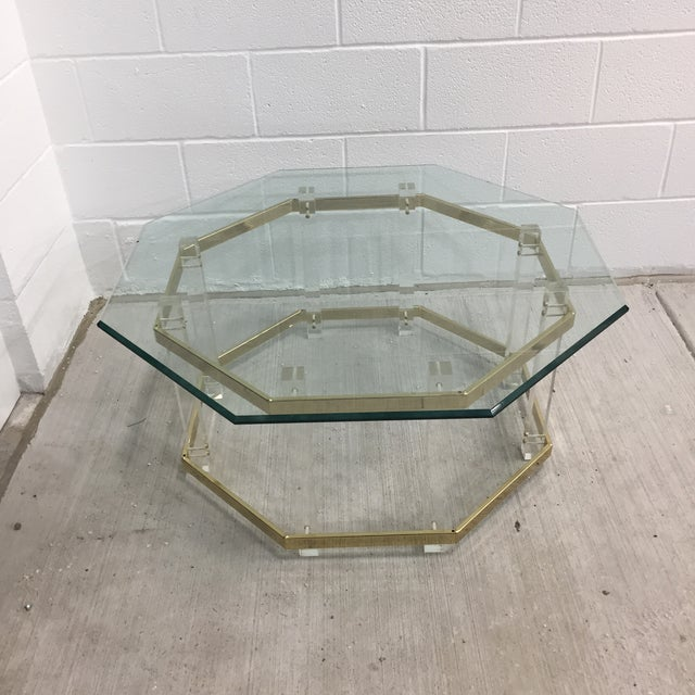 Lucite Vintage Mid-Century Lucite Brass Octagonal Coffee Table Base For Sale - Image 7 of 9