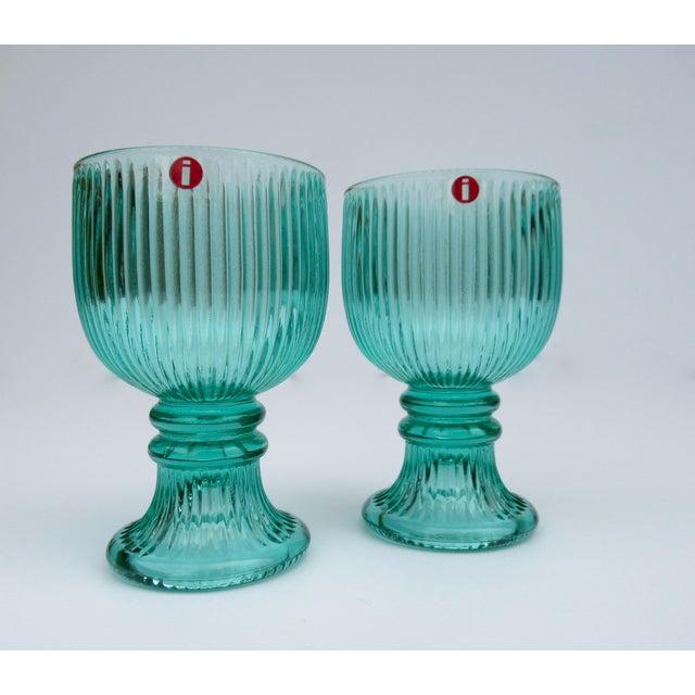 Vintage l'Ittala Crystal Round Fluted Mint Cordial Glasses - Set of 2 For Sale - Image 4 of 13