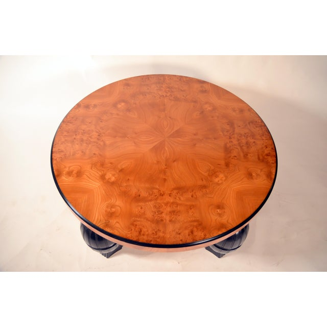 1930s Large Swedish Art Deco Coffee Table in Carpathian Elm and Ebonized Birch For Sale - Image 5 of 8