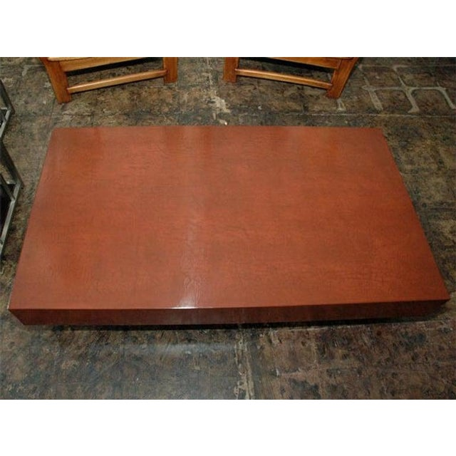 """Not Yet Made - Made To Order """"Caisson"""" Cognac Crackled Lacquer Coffee Table by Design Frères For Sale - Image 5 of 9"""