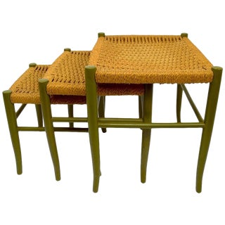 Original Three-Piece Nest of Jute and Wood Tables Made in Italy For Sale