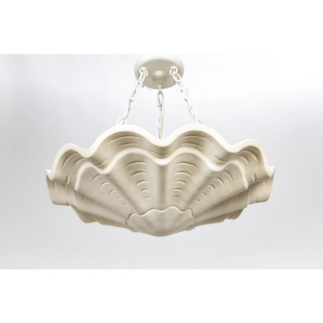 White Large White Vintage Casella Undulating Shell Pendant Lights For Sale - Image 8 of 8