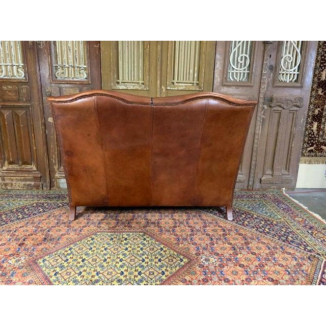 Traditional Vintage Danish Sheep Skin Leather High-Back Sofa For Sale - Image 3 of 6