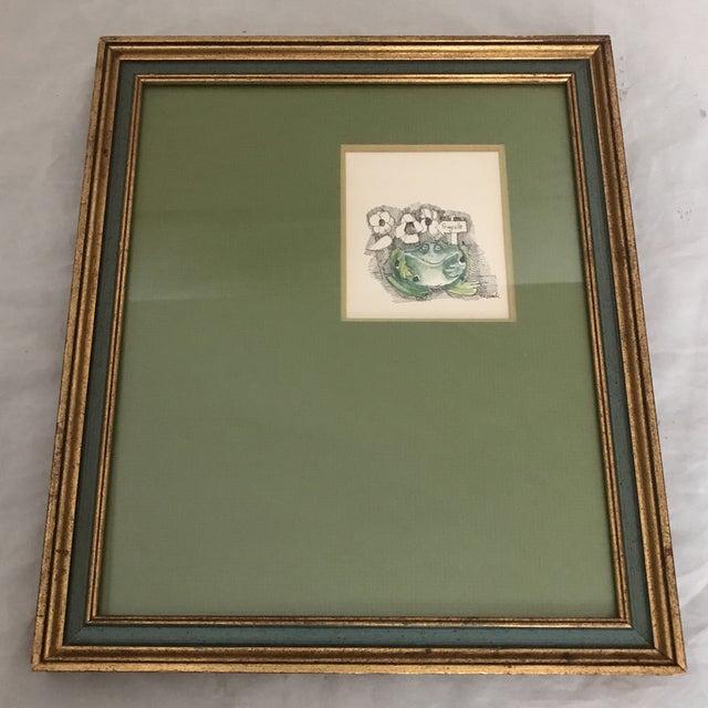 1960's Giltwood Framed Green Frog Print - Image 5 of 5