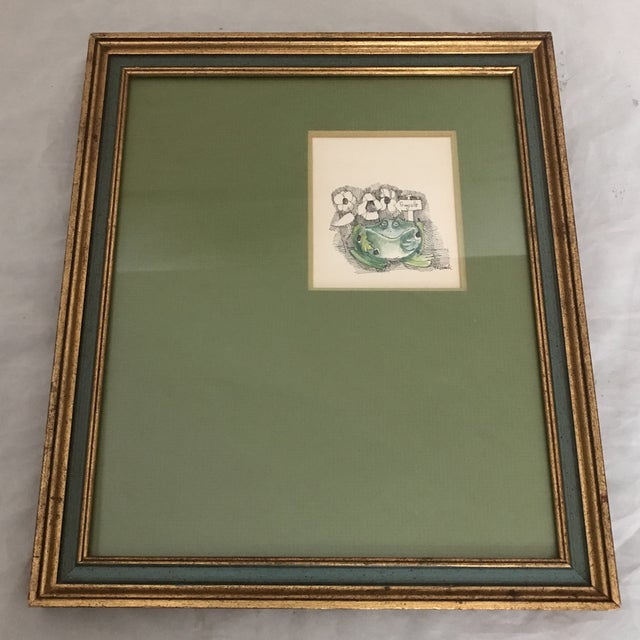 Mid 20th Century Mid-Century Framed Frog Print For Sale - Image 5 of 5