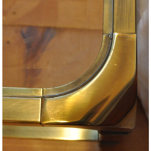1970 Hollywood Regency Mastercraft Brass and Glass Low Profile Side Tables - a Pair For Sale - Image 9 of 11
