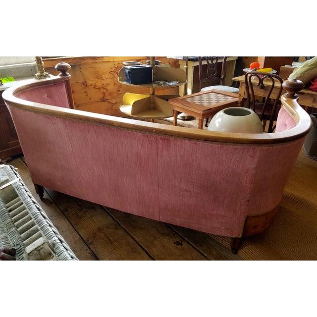 Biedermeier Large Antique Maple and Velvet Sofa For Sale - Image 3 of 13