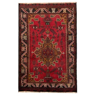 Vintage 'Baluch' Hand Knotted Red, Green, Light Brown and Beige Carpet - 4′ × 5′11″ For Sale