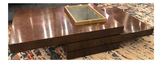 Marvelous Three Tiered Burlwood Coffee Table For Sale