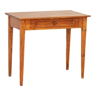 Antique Swedish Pine Side Table With Tapered Legs For Sale