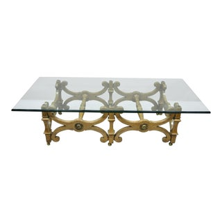 1960s Hollywood Regency Rectangle X-Frame Glass Top Coffee Table For Sale