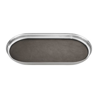 Georg Jensen Art Deco Stainless Steel Manhattan Tray with Leather For Sale