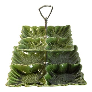 Green Tiered Serving Dish For Sale