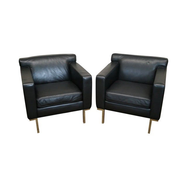 Ted Boerner American Leather Club Chairs - Pair - Image 1 of 10