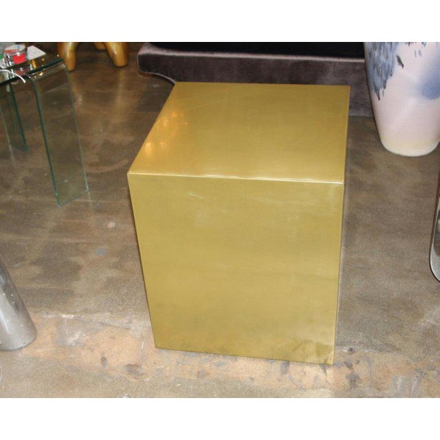 2010s Contemporary Bridges Over Time Originals Brass Coated Cube Table For Sale - Image 5 of 9