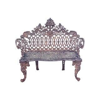 19th Century Antique Victorian Iron Garden Bench For Sale