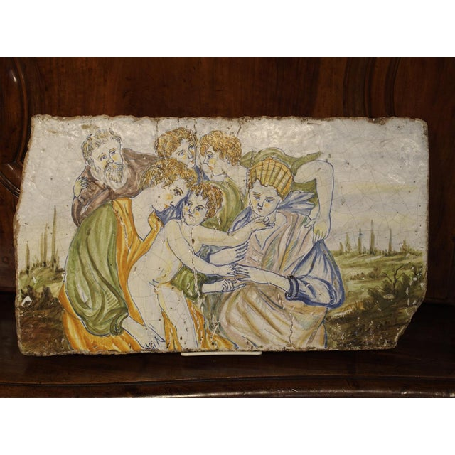 Ceramic Antique Painted Tile from Italy, 17th Century For Sale - Image 7 of 7