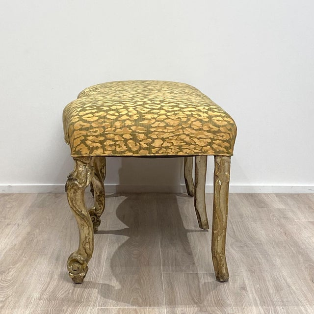 Hollywood Regency Italian Silver Gilt Bench For Sale - Image 3 of 7